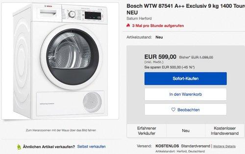 BOSCH WTW87541 Wärmepumpentrockner (9 kg, A++) - jetzt 29% billiger