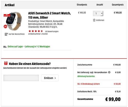 ASUS Zenwatch 2 Smart Watch - jetzt 24% billiger