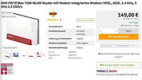 AVM FRITZ!Box 7580 WLAN Router - jetzt 35% billiger