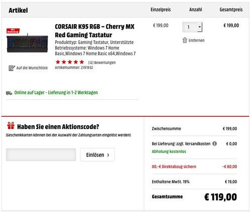 Corsair K95 RGB Cherry MX Gaming Tastatur - jetzt 39% billiger