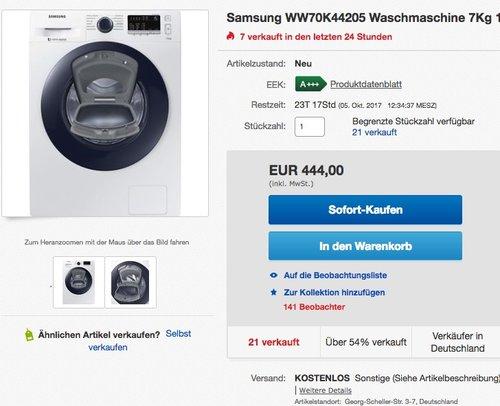 Samsung WW70K4420YW / EG AddWash Waschmaschine - jetzt 11% billiger