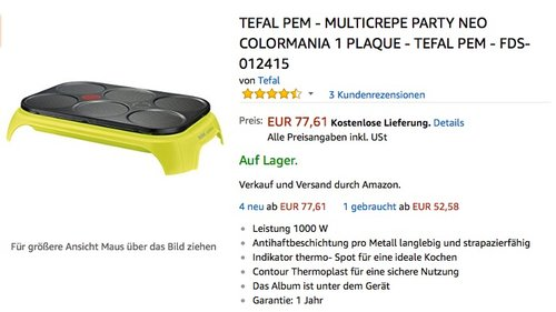 Tefal Pem - Multicrepe Party Neo  - jetzt 29% billiger