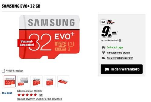 SAMSUNG EVO+ 32 GB - jetzt 43% billiger
