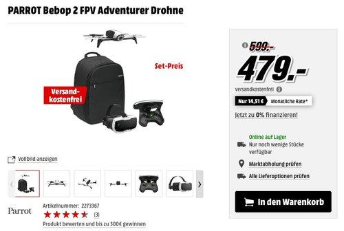 Parrot Bebop 2 FPV Drohne im Set mit Skycontroller und FPV-Brille weiß - jetzt 8% billiger