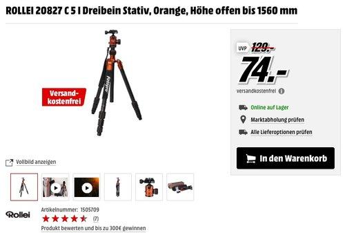 Rollei C5i Stativ, inkl. Kugelkopf, Schnellwechselplatte und Stativtasche, Orange - jetzt 36% billiger