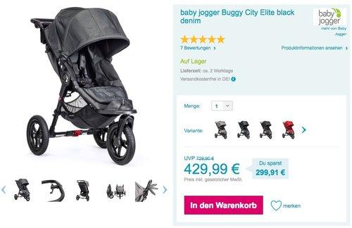 Baby Jogger City Elite Single, Black - jetzt 14% billiger