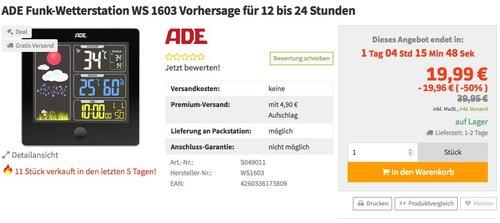ADE Wetterstation WS 1603 mit Funk und Außensensor (schwarz) - jetzt 34% billiger