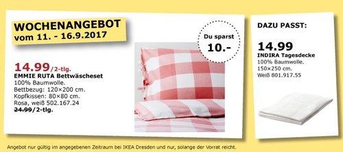 IKEA EMMIE RUTA Bettwäscheset, rosa-weiß - jetzt 40% billiger