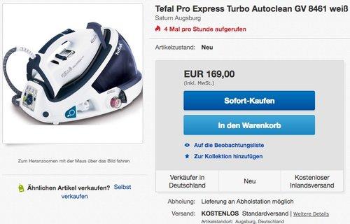 Tefal GV8461 Pro Express Turbo Autoclean Dampfbügelstation - jetzt 7% billiger