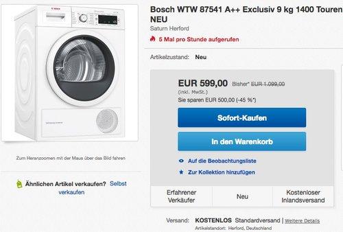 BOSCH WTW87541 Wärmepumpentrockner (9 kg, A++) - jetzt 21% billiger