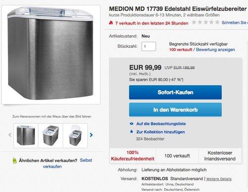 MEDION MD 17739 Edelstahl Eiswürfelzubereiter Maschine für 2 Größen 2,2L Tank - jetzt 33% billiger