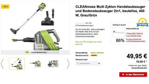 CLEANmaxx Zyklon-Handstaubsauger 2in1 400W - jetzt 17% billiger