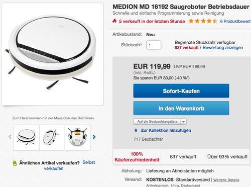 MEDION MD 16192 Saugroboter - jetzt 11% billiger