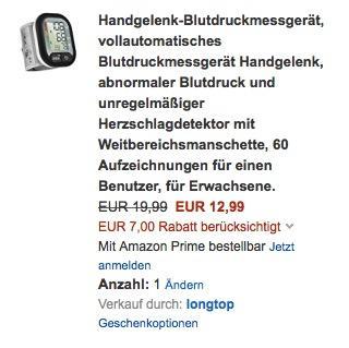 LiSmile Handgelenk-Blutdruckmessgerät - jetzt 35% billiger