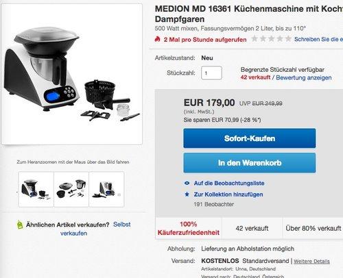 MEDION MD 16361 Küchenmaschine mit Kochfunktion, 1000 Watt Leistung, 2 Liter  - jetzt 10% billiger