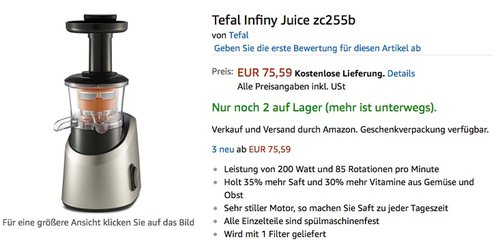 Tefal Infiny Juice zc255b - jetzt 33% billiger