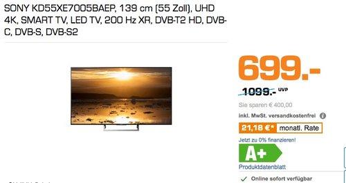 Sony KD-55XE7005 Bravia 139 cm (55 Zoll) Fernseher (4K Ultra HD, High Dynamic Range, Triple Tuner, Smart-TV) - jetzt 26% billiger