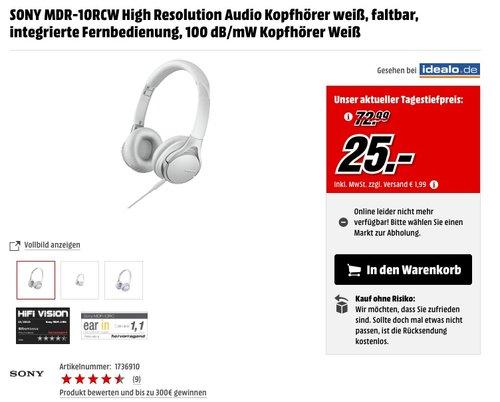 Sony MDR-10RC faltbarer High Resolution Kopfhörer (integrierte Fernbedienung mit Mikrofon, 100dB/mW) weiß - jetzt 47% billiger
