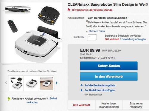 CLEANmaxx Saugroboter Slim Design - jetzt 40% billiger