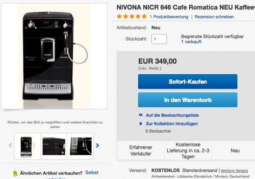 Nivona CafeRomatica 646 Kaffeevollautomat - jetzt 30% billiger