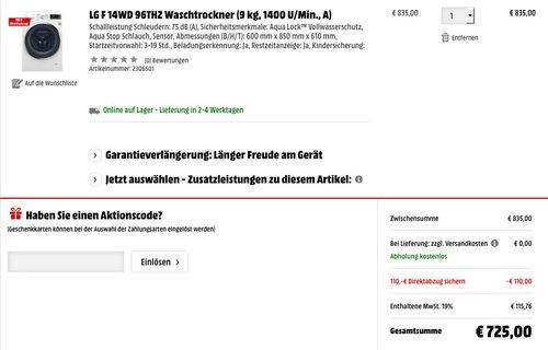 LG F 14WD 96TH2 Waschtrockner (9 kg, 1400 U/Min., A) - jetzt 11% billiger