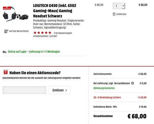 LOGITECH G430 Gaming Headset inkl. LOGITECH G502 Gaming-Maus - jetzt 35% billiger
