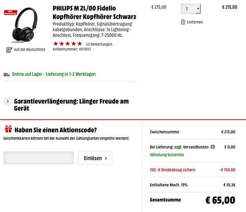 Philips Fidelio M2BTBK kabelloser OnEar Bluetooth-Kopfhörer schwarz - jetzt 36% billiger