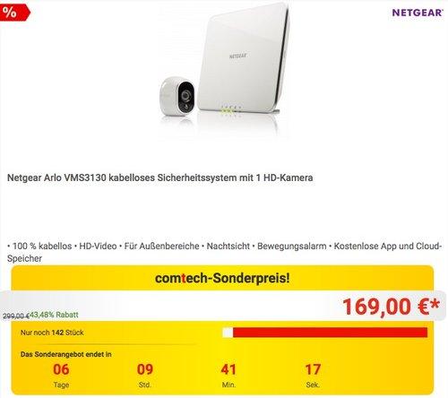 Netgear Arlo VMS3130-100EUS Smart Home 1 HD-Überwachung Kamera-Sicherheitssystem (100% kabellos, Indoor/Outdoor, Bewegungssensor, Nachtsicht) weiß - jetzt 6% billiger