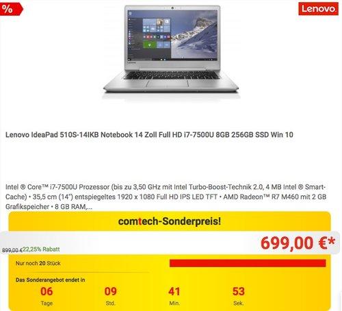 Lenovo ideapad 510S 35,56cm (14 Zoll Full HD IPS Anti-Glare) Slim Multimedia Notebook (Intel Core i7-7500U, 8GB RAM, 256GB SSD, AMD Radeon R7 M460 2GB, Windows 10 Home) silber - jetzt 6% billiger