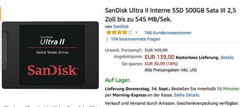 SanDisk Ultra II Interne SSD 500GB Sata III 2,5 Zoll bis zu 545 MB/Sek. - jetzt 11% billiger