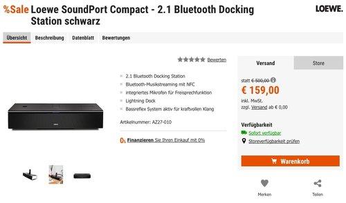 Loewe SoundPort Compact - 2.1 Bluetooth Docking Station (2.1 mit Bassreflex, Bluetooth, Lightning Dock, 3,5 mm Klinke) - jetzt 37% billiger