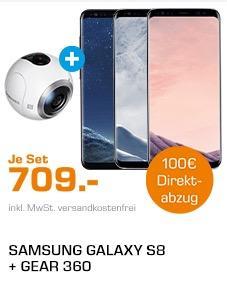 BUNDLE: SAMSUNG Galaxy S8, Smartphone, 64 GB, 5.8 Zoll plus SAMSUNG GEAR 360 VR AKTION, 360° Kamera - jetzt 14% billiger