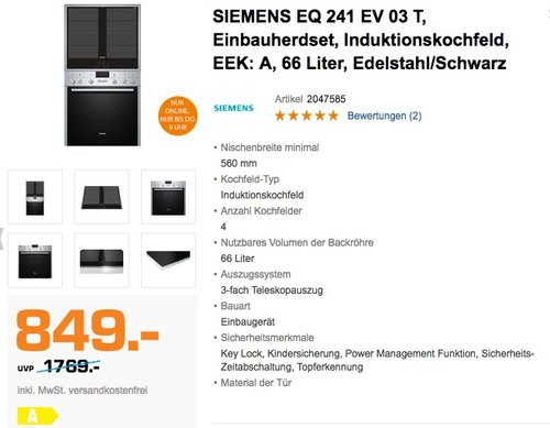 Siemens EQ241EV03T Backofen-Kochfeld-Kombinationen Freistehend - jetzt 14% billiger