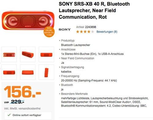 Sony SRSXB40 Tragbarer kabelloser Lautsprecher (Bluetooth, NFC, wasserabweisend, 24 Stunden Akkulaufzeit) Rot - jetzt 18% billiger