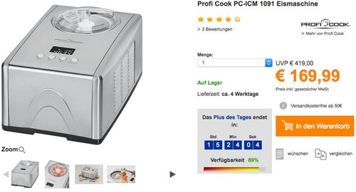 ProfiCook PC-ICM 1091 Eismaschine 3in1 für Speiseeis, Frozen Joghurt und Sorbet - jetzt 10% billiger