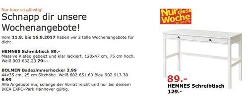 IKEA HEMNES Schreibtisch, 120x47 cm, 75 cm hoch, weiß - jetzt 31% billiger