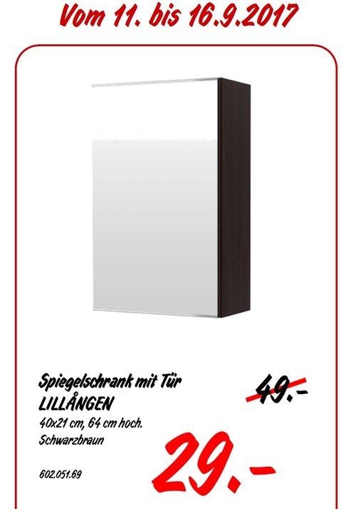 IKEA LILLANGEN Spiegelschrank mit Tür, 40x21 cm, 64 cm hoch, schwarzbraun - jetzt 41% billiger