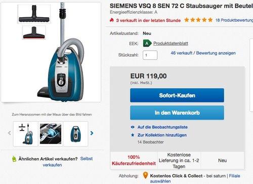 Siemens VSQ8SEN72C Bodenstaubsauger Q8.0 Power Sensor mit Hartbodendüse - jetzt 18% billiger