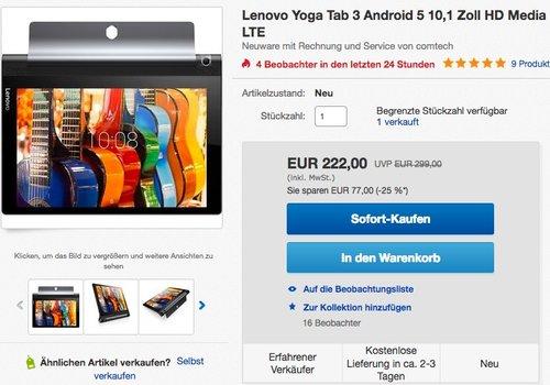 Lenovo Yoga Tab 3-10 25,65cm (10,1 Zoll HD) Convertible Media Tablet - jetzt 7% billiger