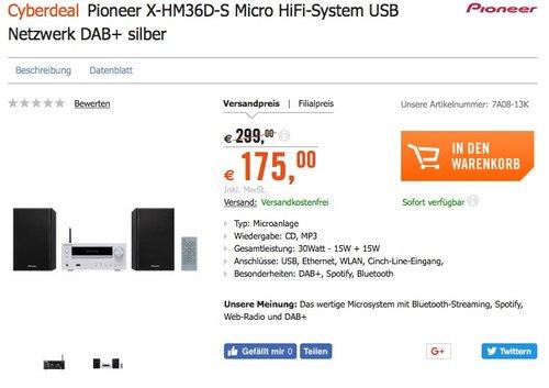 Pioneer X-HM 36 D-S Netzwerk CD Receiver System (15W pro Kanal, Spotify ready, tuneIn Internetradio, WiFi und Bluetooth integriert, DAB+) - jetzt 29% billiger