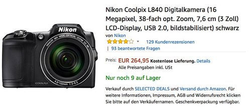 Nikon Coolpix L840 Digitalkamera (16 Megapixel, 38-fach opt. Zoom, 7,6 cm (3 Zoll) LCD-Display, USB 2.0, bildstabilisiert) schwarz - jetzt 21% billiger
