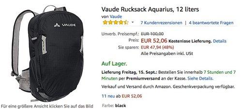 Vaude Rucksack Aquarius, 12 Liter , schwarz - jetzt 39% billiger