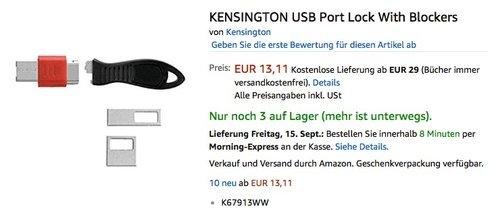 KENSINGTON USB Port Lock With Blockers  - jetzt 59% billiger