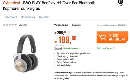 B&O PLAY by Bang & Olufsen Beoplay H4 kabelloser Over-Ear Kopfhörer Charcoal Grey - jetzt 17% billiger