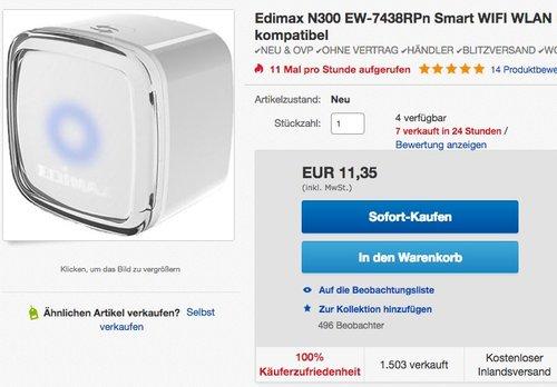 Edimax EW-7438RPn Air Smart WLAN-Extender - jetzt 33% billiger
