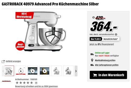 GASTROBACK 40979 Advanced Pro Küchenmaschine Silber - jetzt 25% billiger