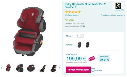 Kiddy Guardianfix Pro 2 Autositz, Fangkörpersystem, ISOFIX, Gruppe 1/2/3 (9-36 kg, ca. 9 Monate-ca. 12 Jahre), Sao Paulo (rot) - jetzt 9% billiger