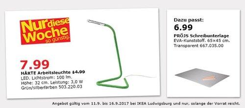 IKEA HARTE Arbeitsleuchte, LED, 100 lm, 32 cm hoch - jetzt 47% billiger