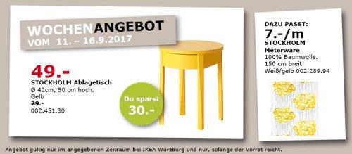 IKEA STOCKHOLM Ablagetisch, 42x50 cm, gelb  - jetzt 38% billiger