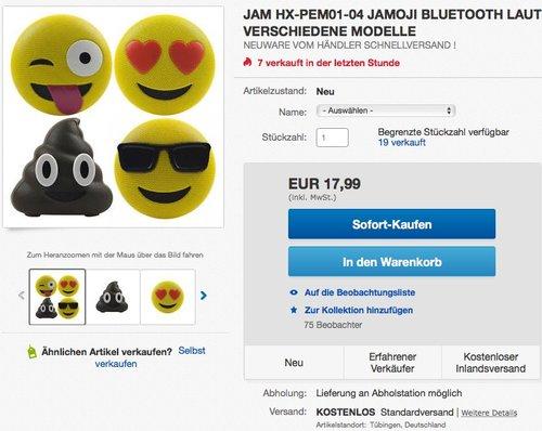 Jam HX-PEM01-EU Tongue Out Jamoji Bluetooth Lautsprecher mit Mikrofon gelb - jetzt 29% billiger